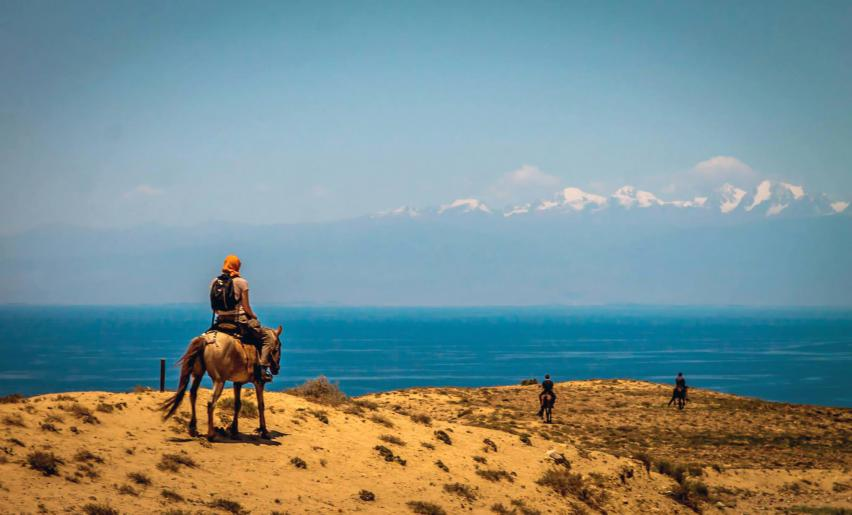 Horse riding at Lake Issyk-Kul