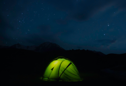 Night at tent in Kumtor gorge